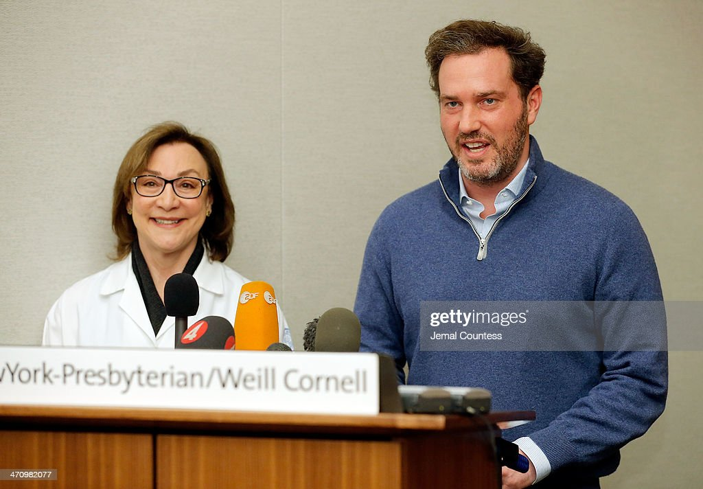 Dr. Sona Degann (L), OBGYN at NewYork-Presbyterian/Weill Cornell Hospital stands by <a gi-track='captionPersonalityLinkClicked' href=/galleries/search?phrase=Christopher+O%27Neill+-+Husband+of+Princess+Madeleine&family=editorial&specificpeople=7470611 ng-click='$event.stopPropagation()'>Christopher O'Neill</a>, husband of H.R.H. Princess Madeleine of Sweden as he describes the details of the birth of his newborn daughter at a press conference at NewYork-Presbyterian/ Weill Cornell Medical Center on February 21, 2014 in New York City. The 31-year-old Princess, whose full title is Madeleine Therese Amelie Josephine, Princess of Sweden, Duchess of Halsingland and Gastrikland, is fourth in line to the throne of Sweden. She married US-British banker <a gi-track='captionPersonalityLinkClicked' href=/galleries/search?phrase=Christopher+O%27Neill+-+Husband+of+Princess+Madeleine&family=editorial&specificpeople=7470611 ng-click='$event.stopPropagation()'>Christopher O'Neill</a> in June, and the couple announced in September that they were expecting their first child. 'The Office of the Marshal of the Realm is delighted to announce that H.R.H. Princess Madeleine gave birth to a daughter on February 20, 2014 at 10.41 pm local time New York,' the Swedish court said. 'Both mother and child are in good health.'
