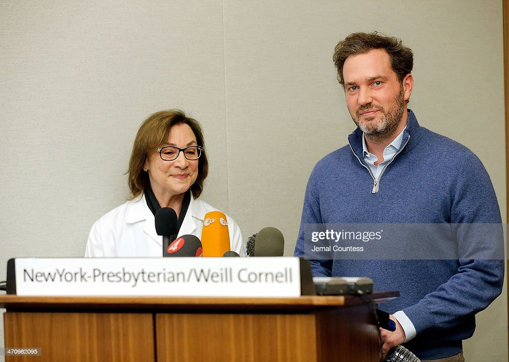 Dr. Sona Degann (L), OBGYN at NewYork-Presbyterian/Weill Cornell Hospital stands by Christopher O'Neill, husband of H.R.H. Princess Madeleine of Sweden as he describes the details of the birth of his newborn daughter at a press conference at NewYork-Presbyterian/ Weill Cornell Medical Center on February 21, 2014 in New York City. The 31-year-old Princess, whose full title is Madeleine Therese Amelie Josephine, Princess of Sweden, Duchess of Halsingland and Gastrikland, is fourth in line to the throne of Sweden. She married US-British banker Christopher O'Neill in June, and the couple announced in September that they were expecting their first child. 'The Office of the Marshal of the Realm is delighted to announce that H.R.H. Princess Madeleine gave birth to a daughter on February 20, 2014 at 10.41 pm local time New York,' the Swedish court said. 'Both mother and child are in good health.'