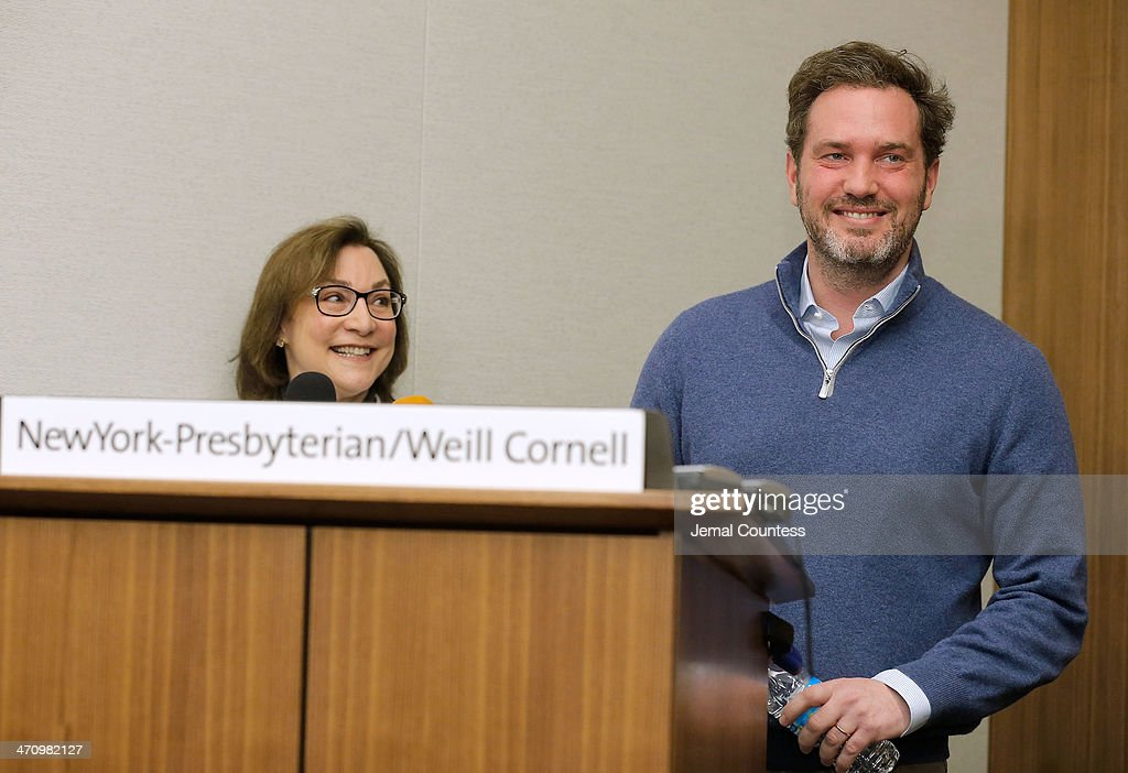 Dr. Sona Degann, OBGYN at NewYork-Presbyterian/Weill Cornell Hospital stands by Christopher O'Neill, husband of H.R.H. Princess Madeleine of Sweden as he describes the details of the birth of his newborn daughter at a press conference at NewYork-Presbyterian/ Weill Cornell Medical Center on February 21, 2014 in New York City. The 31-year-old Princess, whose full title is Madeleine Therese Amelie Josephine, Princess of Sweden, Duchess of Halsingland and Gastrikland, is fourth in line to the throne of Sweden. She married US-British banker Christopher O'Neill in June, and the couple announced in September that they were expecting their first child. 'The Office of the Marshal of the Realm is delighted to announce that H.R.H. Princess Madeleine gave birth to a daughter on February 20, 2014 at 10.41 pm local time New York,' the Swedish court said. 'Both mother and child are in good health.'