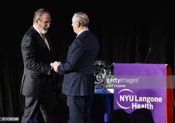 Dr Stephen Abramson and Dr Robert Grossman speak onstage during the NYU Langone Health's 2017 Musculoskeletal Ball on November 14 2017 at the...