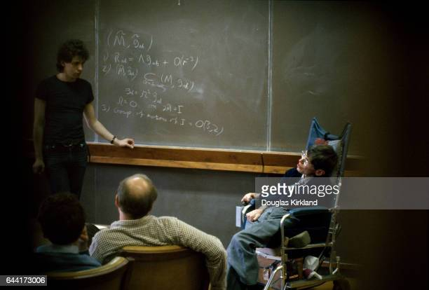 Dr Stephen Hawking instructing students at Cal Tech