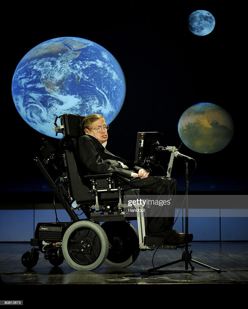 Dr. <a gi-track='captionPersonalityLinkClicked' href=/galleries/search?phrase=Stephen+Hawking&family=editorial&specificpeople=215281 ng-click='$event.stopPropagation()'>Stephen Hawking</a>, professor of mathematics at the University of Cambridge, delivers a speech entitled 'Why we should go into space' during a lecture series marking NASA's 50th anniversary April 21, 2008, at George Washington University's Morton Auditorium in Washington, DC.