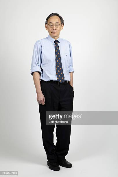 Dr Steven Chu Secretary of Energy under the Obama Administration poses for a portrait in the Department of Energy offices on April 7 2009 in...