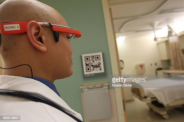 Dr Steven Horng at Beth Israel Deaconess Hospital demonstrates what it will look like for Emergency Room doctors to use Google Glass to read the QR...