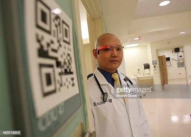 Dr Steven Horng At Beth Israel Deaconess Hospital poses for a portrait wearing Google Glass by the QR code that he and other doctors will use to read...