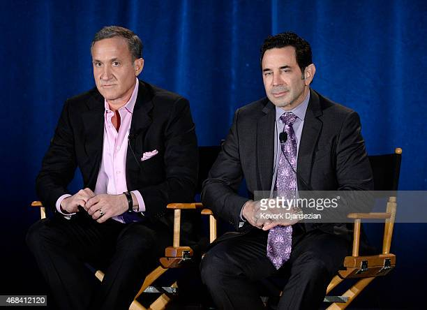 Dr Terry Dubrow and Dr Paul Nassif of 'Botched' participate in a panel during NBCUniversal Summer Press Day on April 2 2015 in Pasadena California