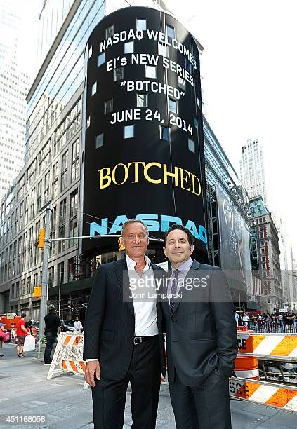 Dr Terry Dubrow and Dr Paul Nassif The Cast Of 'Botched' ring the closing bell at NASDAQ MarketSite on June 24 2014 in New York City