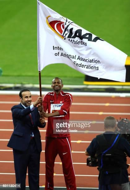 E Dr Thani Abdulrahman Al Kuwari VicePresident IAAF World Championships Doha 2019 and President Qatar Athletics Federation and Mutaz Essa Barshim of...