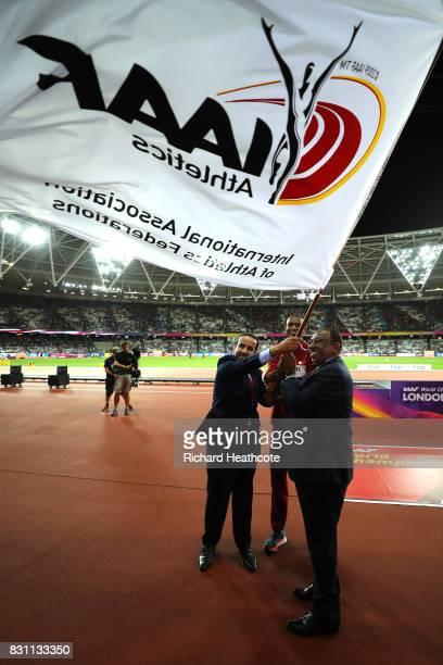 E Dr Thani Abdulrahman Al Kuwari VicePresident IAAF World Championships Doha 2019 IAAF vicepresident Dahlan Al Hamad and Mutaz Essa Barshim of Qatar...