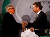 Dr Theo Zwanziger president of the German Football Association and BadenWuerttemberg's State Premier Guenther Oettinger shake hands on the podium...