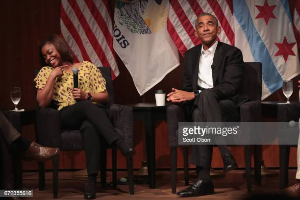 Dr Tiffany Brown laughs as she relates her first experience meeting former US President Barack Obama during a forum at the University of Chicago held...