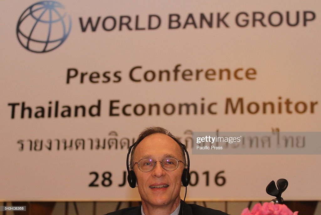 Dr. Ulrich Zachau Country Director, World Bank, Southeast Asia speaks to media at Siam Kempinski Hotel Bangkok during the press conference on Thailand economic Monitor and Aging society about portfolio analysis and forecast growth in the country and outside the country in Southeast Asia.