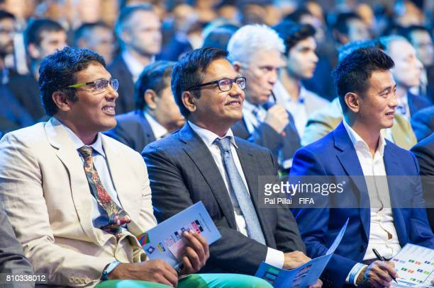 Dr Vijay D Patil President D Y Patil along with Bhaichung Bhutia during FIFA U17 World Cup 2017 Draw held at Hotel Sahara Star on July 07 2017 in...