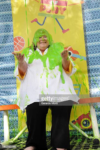 Dr Virgina Abernathy principal of Enterprise Elementary gets slimed at the SpongeBob Playground Opening Celebration at Enterprise Elementary School...