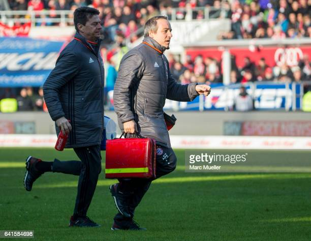 Dr Volker Braun Medical of Bayern Munich is seen during the Bundesliga match between FC Ingolstadt 04 and Bayern Muenchen at Audi Sportpark on...