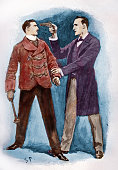 Dr Watson stopping a villain in his tracks in The Adventures of Sherlock Holmes by Arthur Conan Doyle Illustration captioned 'I clapped a pistol to...