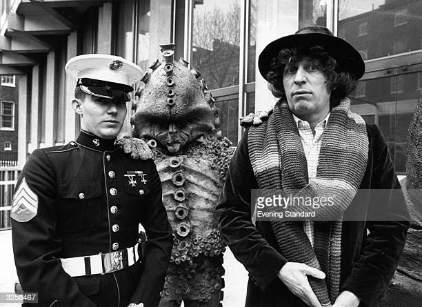 Dr Who a TV character from the BBC series together with a monster from the show meets Sergeant Frank Ziegler a guard at the American Embassy in...