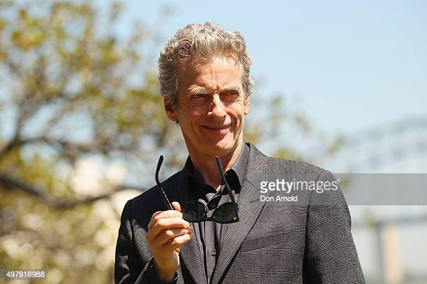Dr Who's Peter Capaldi poses during a media call at Mrs Macquarie's Chair on November 20 2015 in Sydney Australia