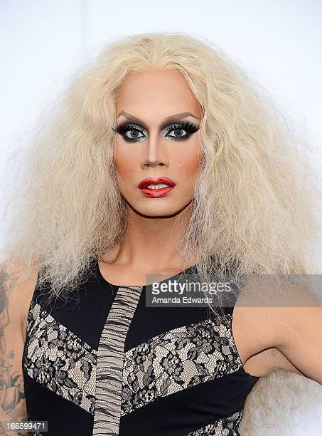 Dra queen Raja arrives at the Logo NewNowNext Awards 2013 at The Fonda Theatre on April 13 2013 in Los Angeles California