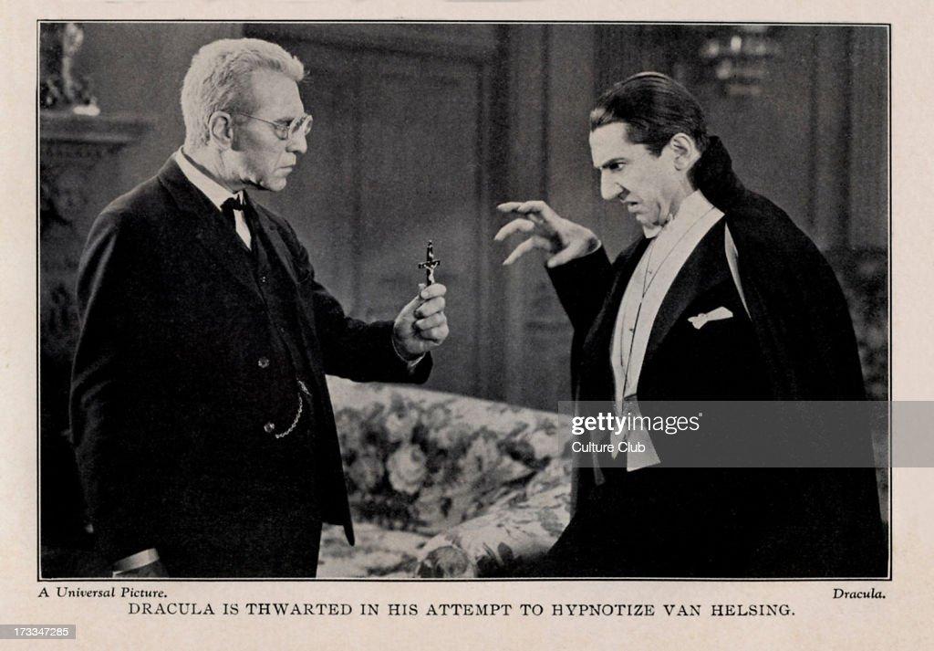 Dracula 1931 film Bela Lugosi as Count Dracula and Edward Van Sloan as Van Helsing Caption 'Dracula is thwarted in his attempt to hypnotize Van...