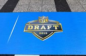 Draft 2015 logo is on display in Pioneer Court to commemorate the NFL Draft 2015 in Chicago on April 30 2015 in Chicago Illinois