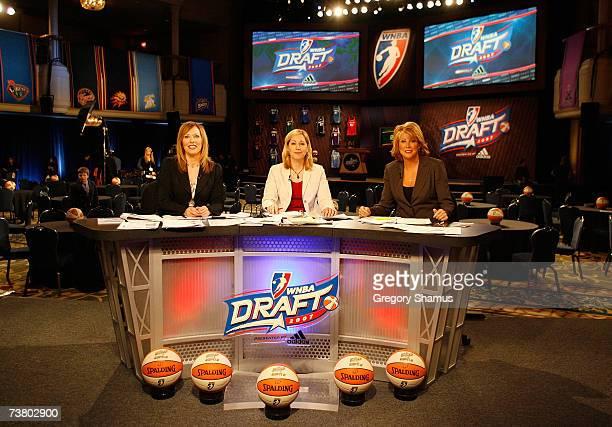 WNBA draft analyasts Linda Cohn Doris Burke and Nancy Lieberman are seen on the draft set prior to the 2007 WNBA Daft at the Renaissance Cleveland...