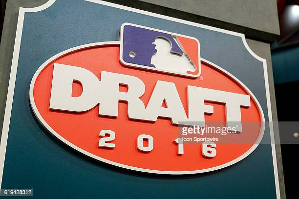 Draft Logo during The MLB First Year Player Draft The draft is held at Studio 42 of MLB Network in Secaucus NJ