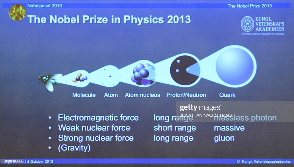A draft of the work of Nobel Physics Prize winners is displayed on a screen during a press conference to announce the laureates of the 2013 Nobel Prize in Physics on October 8, 2013 at the Nobel Assembly at the Royal Swedish Academy of Sciences in Stockholm. Francois Englert of Belgium and Peter Higgs of Britain won the Nobel Physics Prize for the discovery of the 'God particle', the Higgs Boson that explains why mass exists, the jury said.