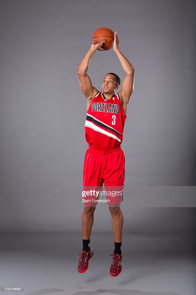 NBA draft pick C.J. McCollum of the Portland Trail Blazers poses for photos during a photo shoot July 8, 2013 at the Rose Garden Arena in Portland, Oregon.