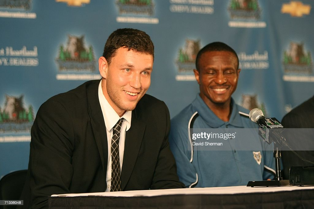 Draft Pick Loukas Mavrokefalidis and Minnesota Timberwolves Head Coach Dwane Casey answer questions from the media during the introductory press...