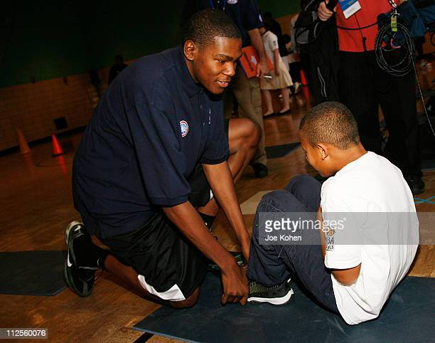 NBA Draft pick rookie Kevin Durant join students from Public School 83 Luis Munoz Rivera to encourage a healthy and active lifestyle part of the...