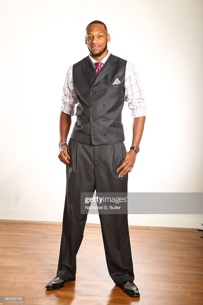 NBA Draft Prospect <a gi-track='captionPersonalityLinkClicked' href=/galleries/search?phrase=Adreian+Payne&family=editorial&specificpeople=7367769 ng-click='$event.stopPropagation()'>Adreian Payne</a>, poses for portraits during media availability as part of the 2014 NBA Draft on June 25, 2014 at the Westin Times Square in New York City.