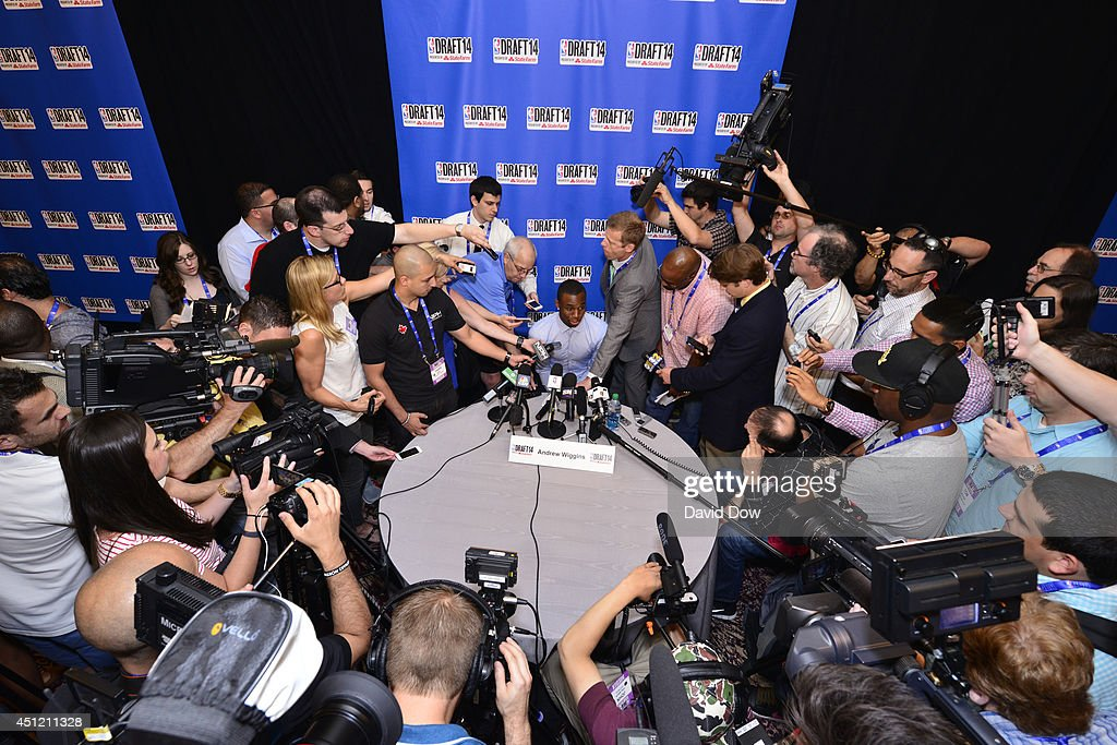 NBA Draft Prospect Andrew Wiggins, speaks to the media during media availability as part of the 2014 NBA Draft on June 25, 2014 at the Westin Times Square in New York City.