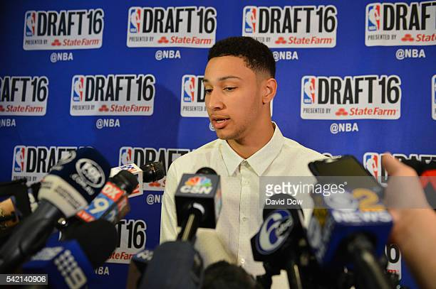 Draft Prospect Ben Simmons speaks to the media during media availability as part of the 2016 NBA Draft on June 22 2016 at the Grand Hyatt New York in...