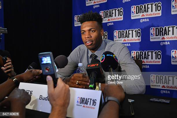 Draft Prospect Buddy Hield speaks to the media during media availability as part of the 2016 NBA Draft on June 22 2016 at the Grand Hyatt New York in...