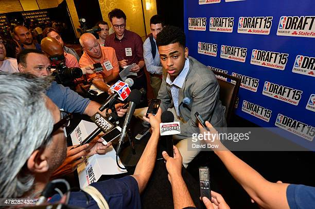 Draft Prospect D'Angelo Russell speaks to the media during media availability as part of the 2015 NBA Draft on June 24 2015 at the Westin Times...