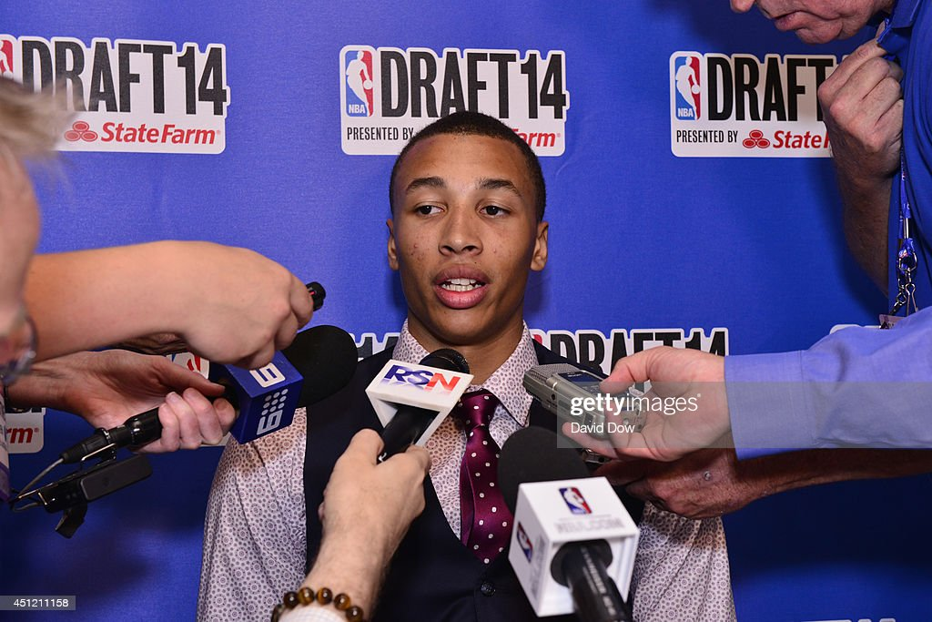 NBA Draft Prospect Dante Exum, speaks to the media during media availability as part of the 2014 NBA Draft on June 25, 2014 at the Westin Times Square in New York City.