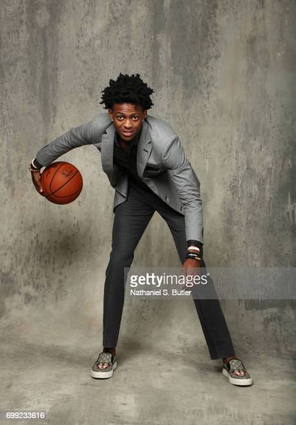 Draft Prospect De'Aaron Fox poses for portraits during media availability and circuit as part of the 2017 NBA Draft on June 21 2017 at the Grand...
