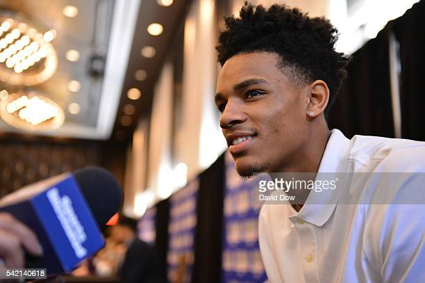 Draft Prospect Dejounte Murray speaks to the media during media availability as part of the 2016 NBA Draft on June 22 2016 at the Grand Hyatt New...