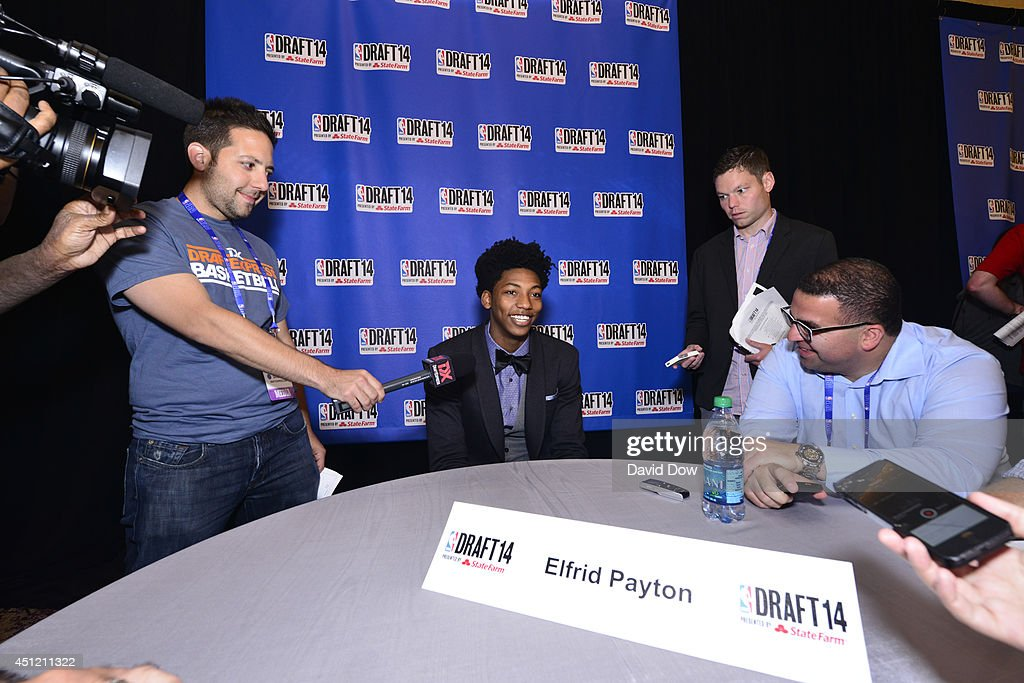 NBA Draft Prospect Elfrid Payton, speaks to the media during media availability as part of the 2014 NBA Draft on June 25, 2014 at the Westin Times Square in New York City.