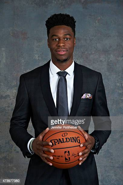 Draft Prospect Emmanuel Mudiay poses for some portraits prior to the 2015 NBA Draft Lottery on May 19 2015 at the NBA Headquarters in New York City...