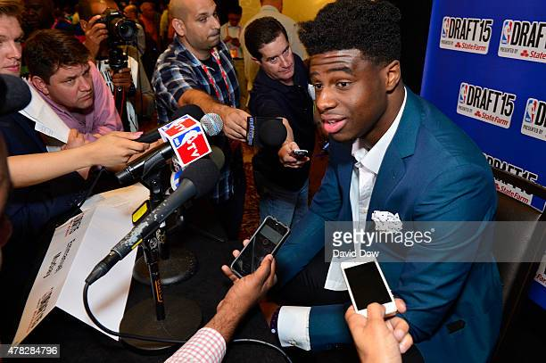 Draft Prospect Emmanuel Mudiay speaks to the media during media availability as part of the 2015 NBA Draft on June 24 2015 at the Westin Times Square...
