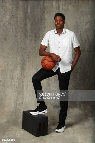Draft Prospect Frank Ntilikina poses for portraits during media availability and circuit as part of the 2017 NBA Draft on June 21 2017 at the Grand...