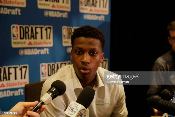 Draft Prospect Frank Ntilikina speaks to the media during media availability as part of the 2017 NBA Draft on June 21 2017 at the Grand Hyatt New...
