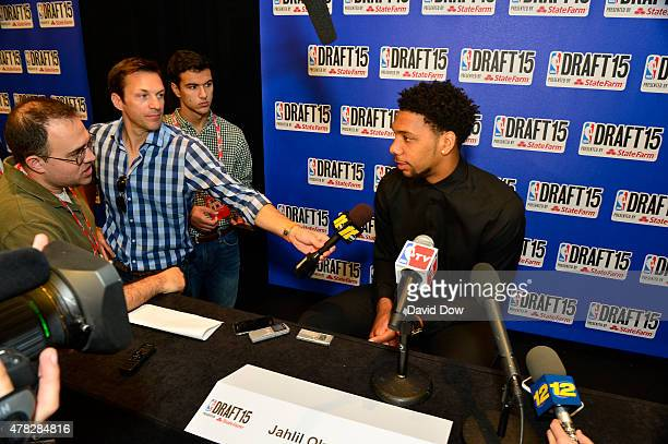 Draft Prospect Jahlil Okafor speaks to the media during media availability as part of the 2015 NBA Draft on June 24 2015 at the Westin Times Square...