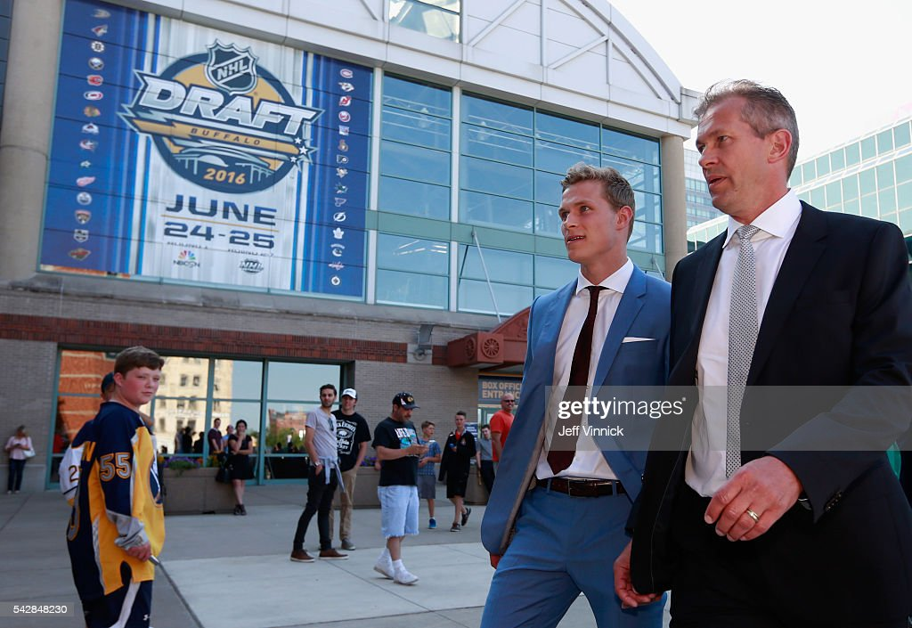 NHL draft prospect <a gi-track='captionPersonalityLinkClicked' href=/galleries/search?phrase=Jakob+Chychrun&family=editorial&specificpeople=12205820 ng-click='$event.stopPropagation()'>Jakob Chychrun</a> arrives at First Niagara Center prior to round one of the 2016 NHL Draft on June 24, 2016 in Buffalo, New York.