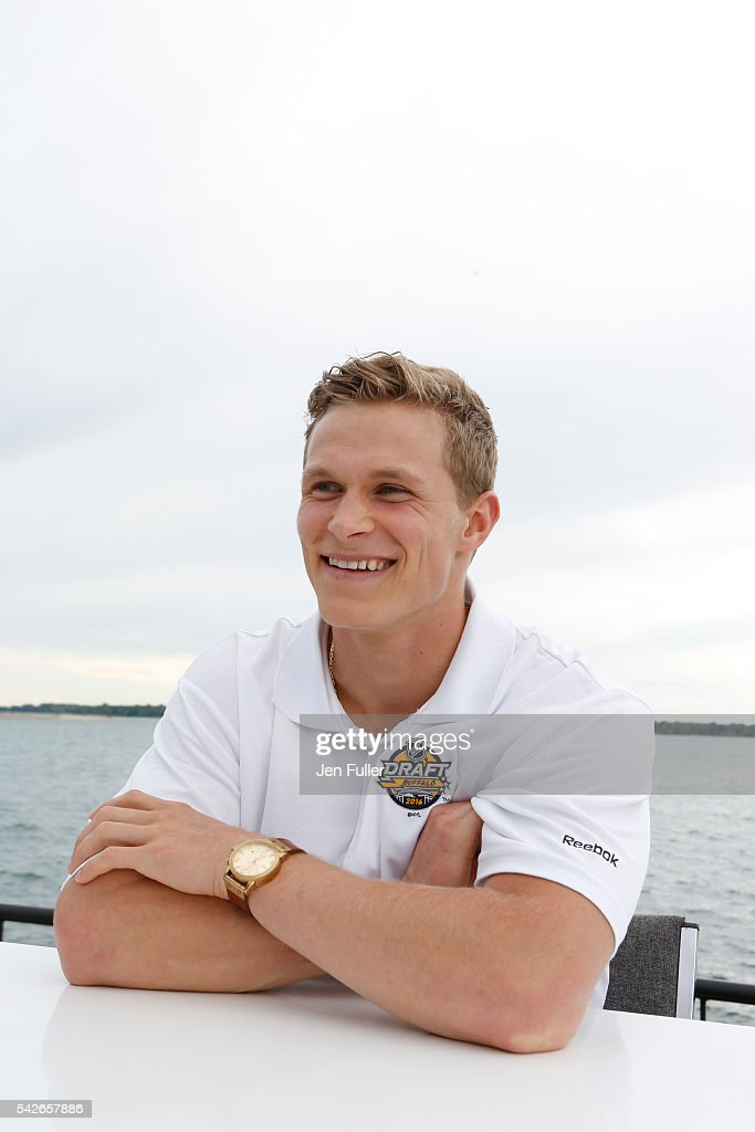 NHL draft prospect Jakob Chychrun speaks to the media during the Top Prospects Media Availability as part of the 2016 NHL Draft at the Erie Basin Marina on June 23, 2016 in Buffalo, New York.