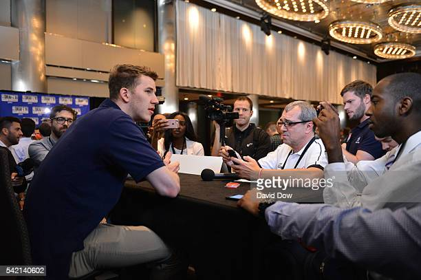 Draft Prospect Jakob Poeltl speaks to the media during media availability as part of the 2016 NBA Draft on June 22 2016 at the Grand Hyatt New York...