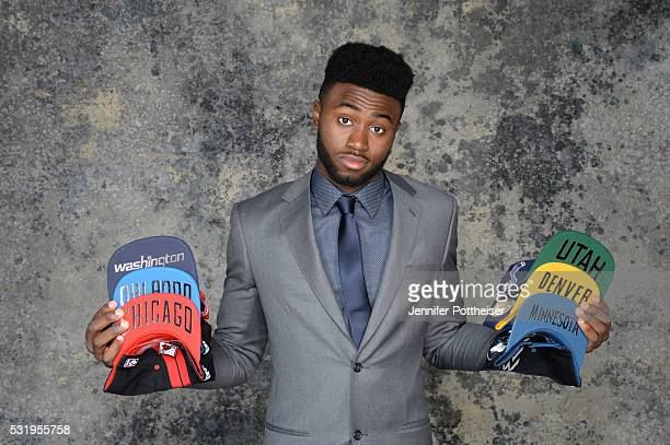 Draft Prospect Jaylen Brown poses for some portraits with some draft hats prior to the 2016 NBA Draft Lottery on May 17 2016 at the NBA Headquarters...