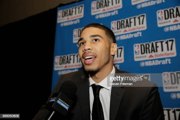 Draft Prospect Jayson Tatum speaks to the media during media availability as part of the 2017 NBA Draft on June 21 2017 at the Grand Hyatt New York...